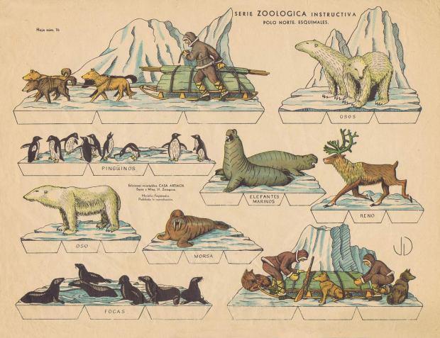 Artiach.-Nº16-POLO-NORTE.-ESQUIMALES.-Serie-Zoologica-instructiva.-Ed.-recortables-Casa-Artiach.-Zaragoza-[E]-ca.1940