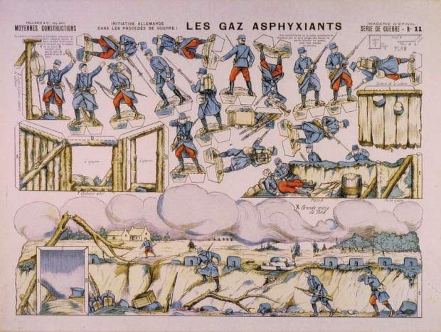 11-Les-gaz-asphyxiants.-Sèrie-de-Guerre.-M.C.-Épinal-[F]-1916