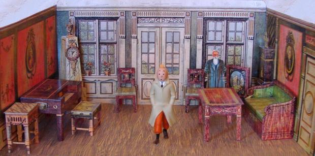 En Tintín sortint de visitar al professor Franz de Cophenaguen