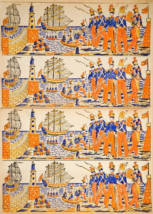 85.-[Desembarcament-a-Barcelona-de-tropes-dúna-legió-estrangera,-l'any-1835]-Planxa-original