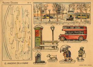 Roma,-Ed.-Nº2-Recortes-Diorama.-El-invierno-en-la-ciudad.-[Barcelona]-ca.1950