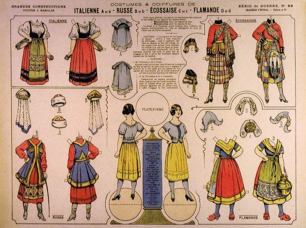 Épinal.89-COSTUMES-ET-COIFFURE-DE-italienne,-russe,-écossaise-G.C-Sèrie-de-Guerre-Im.Épinal.1918