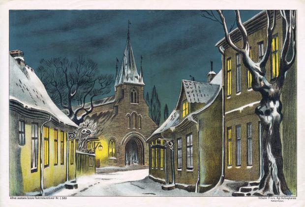 jacobsens-noc385-gammel-gade-med-kirke-i-baggrunden-vinter-fons-priors-dk-1926-1927